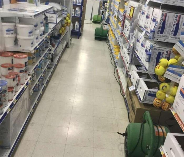 commercial store with dry floors and SERVPRO equipment