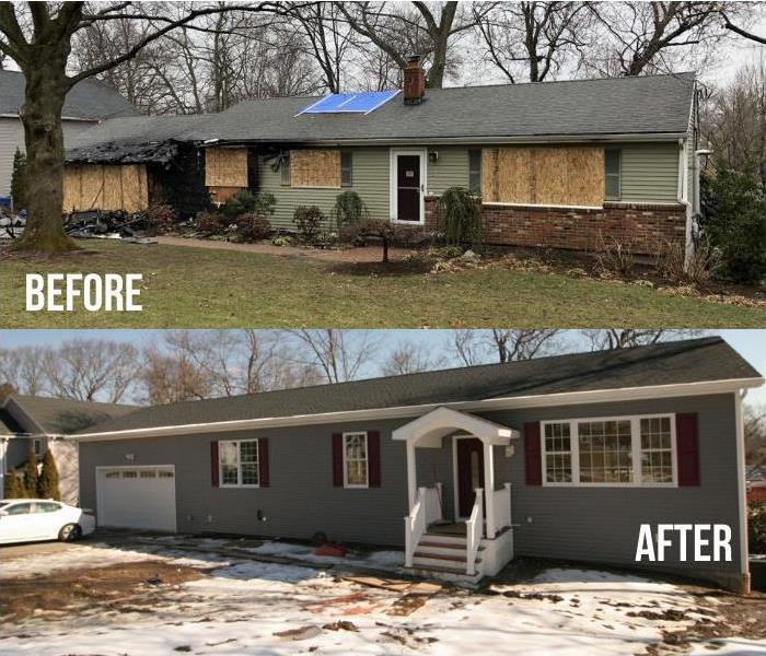 before and after of a house restored after a large house fire