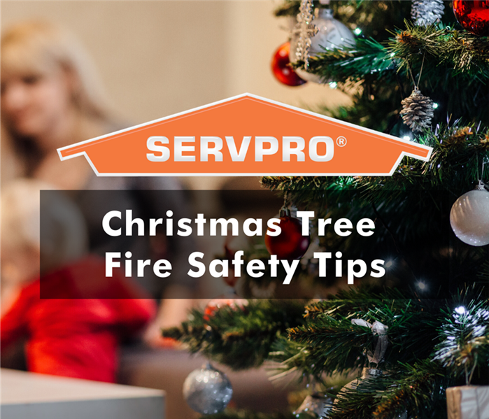 "family and decorated christmas tree with SERVPRO logo and text ""christmas tree fire safety tips"""