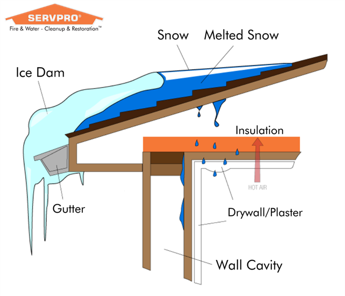Ice dam graphic showing how melting ice on roof creates water damage