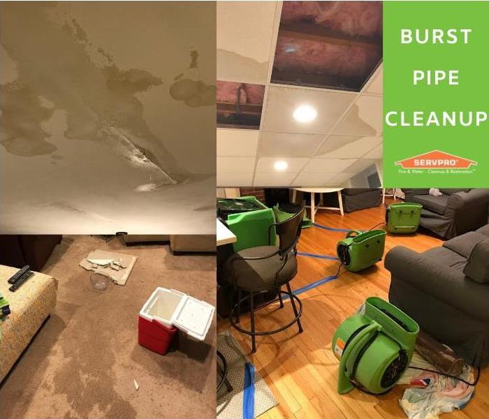 pipe burst in attic resulting in standing water throughout home and water damage on ceilings, hardwood floors, and carpets.