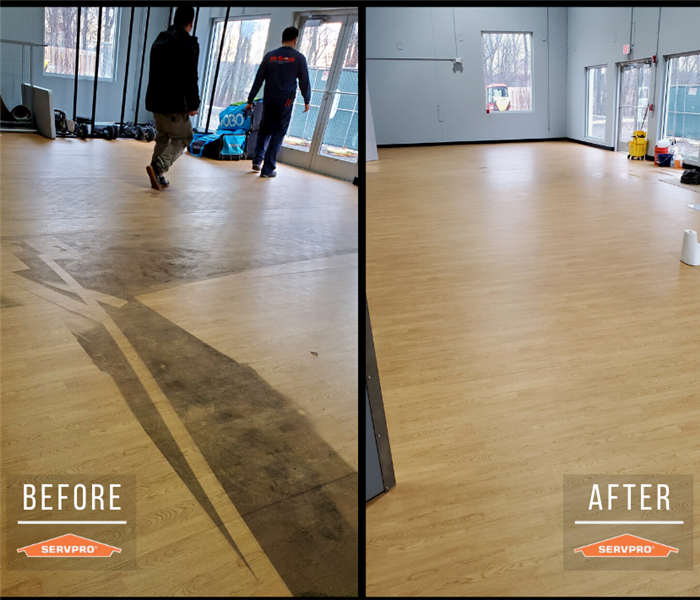commercial floor cleaning. before: dirt and residue covering laminate floor. after: completely clean floor