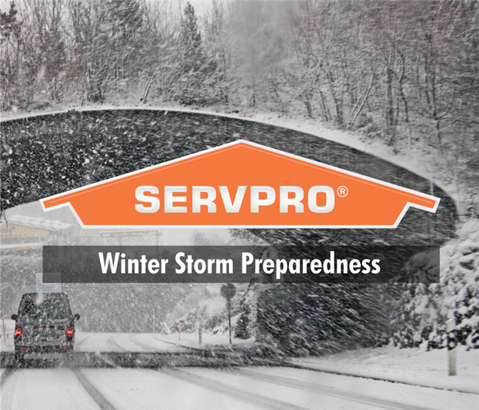 snowy road with servpro logo and text: Winter Storm Preparedness
