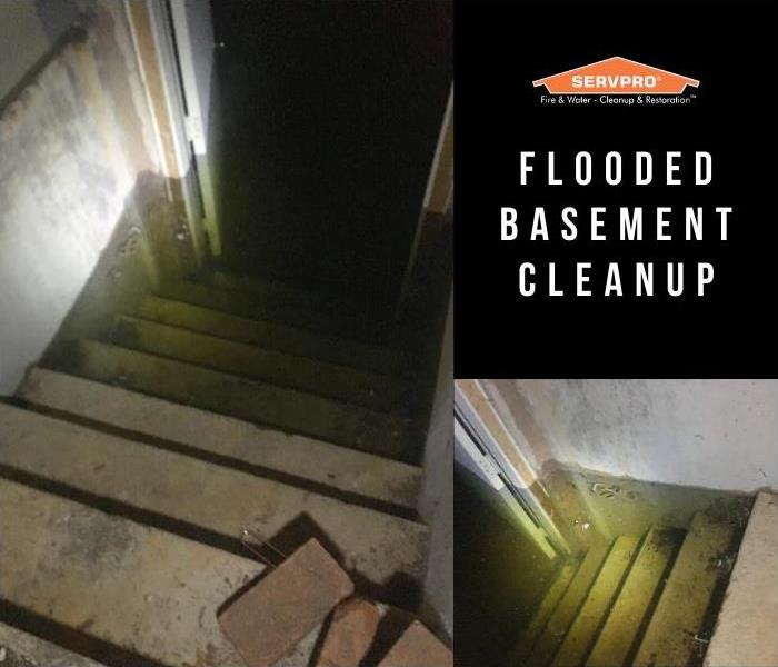 flooded basement filled with four feet of water, reaching almost to top of basement entrance from outside